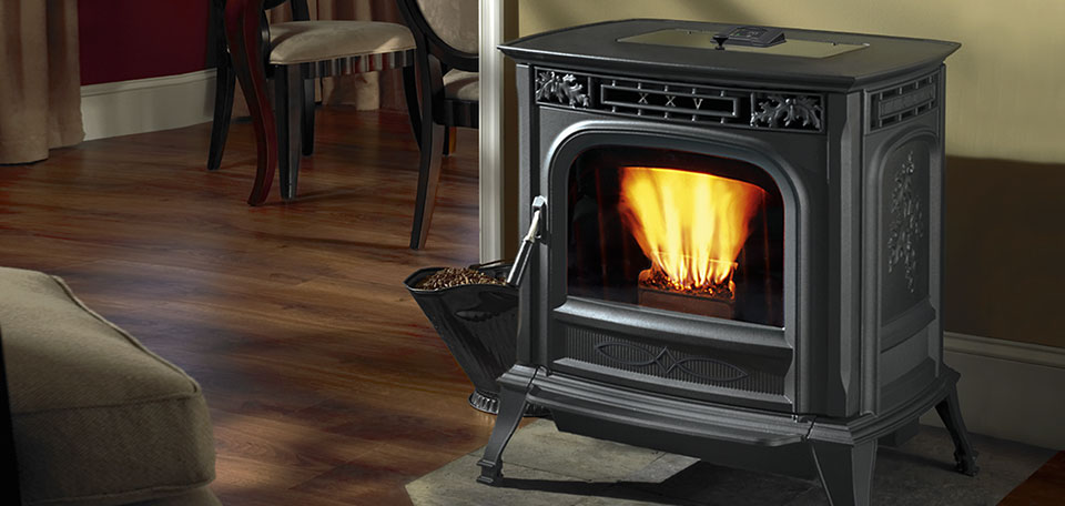 XXV-TC Pellet Stove shown in Matte Black