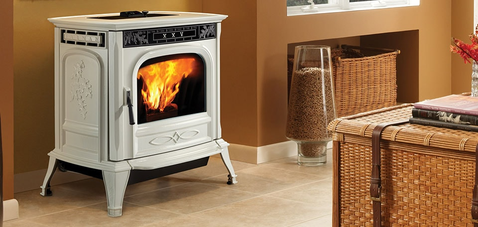 XXV-TC Pellet Stove shown in Porcelain Frost