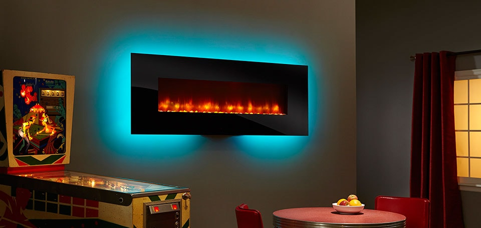 SimpliFire 70-inch Wall-Mount with black front, orange flame, aqua backlight